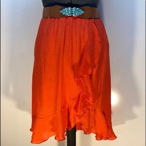 BCX Lined Front Ruffle Mid Calf Skirt